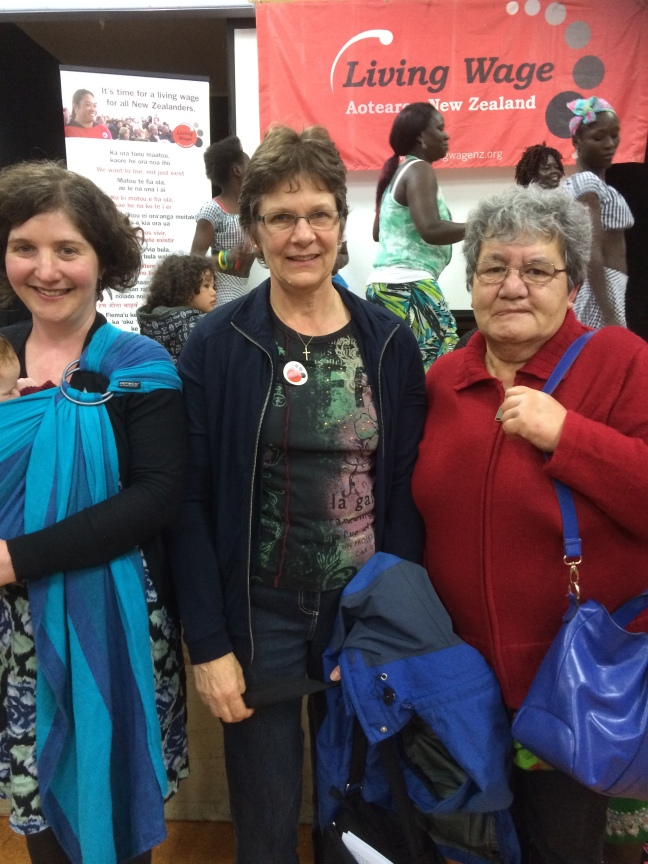 Left-right: Maire Christeller and baby Iris, with HVDHB delegates Monica Murphy and Puawai Moore, at the Hutt Living Wage Network launch